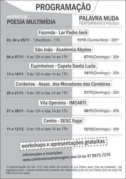 Novembro – mês de Workshops e apresentações